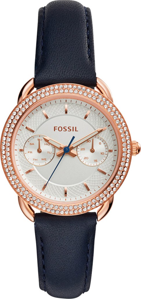 Fossil Tailor Blue Leather Strap Women's Watch 35mm