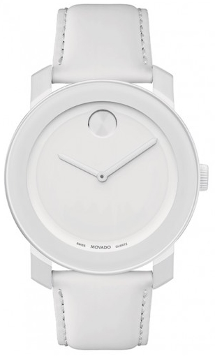 Movado Ladies Bold White Dial Leather Watch 42mm