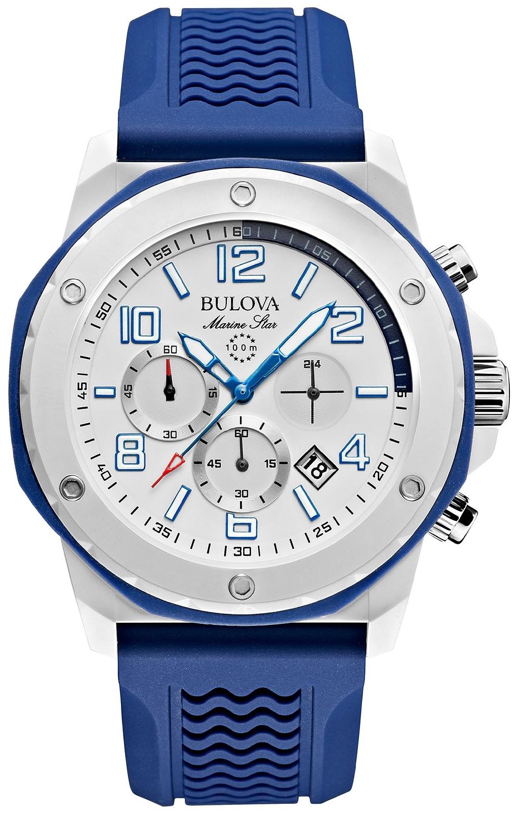 Bulova Men's Blue Silicone Watch 44mm