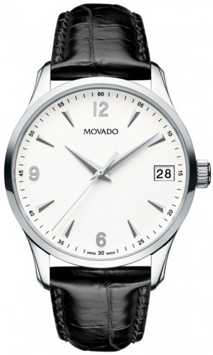 Movado Men's Circa White Dial Leather Watch 40mm