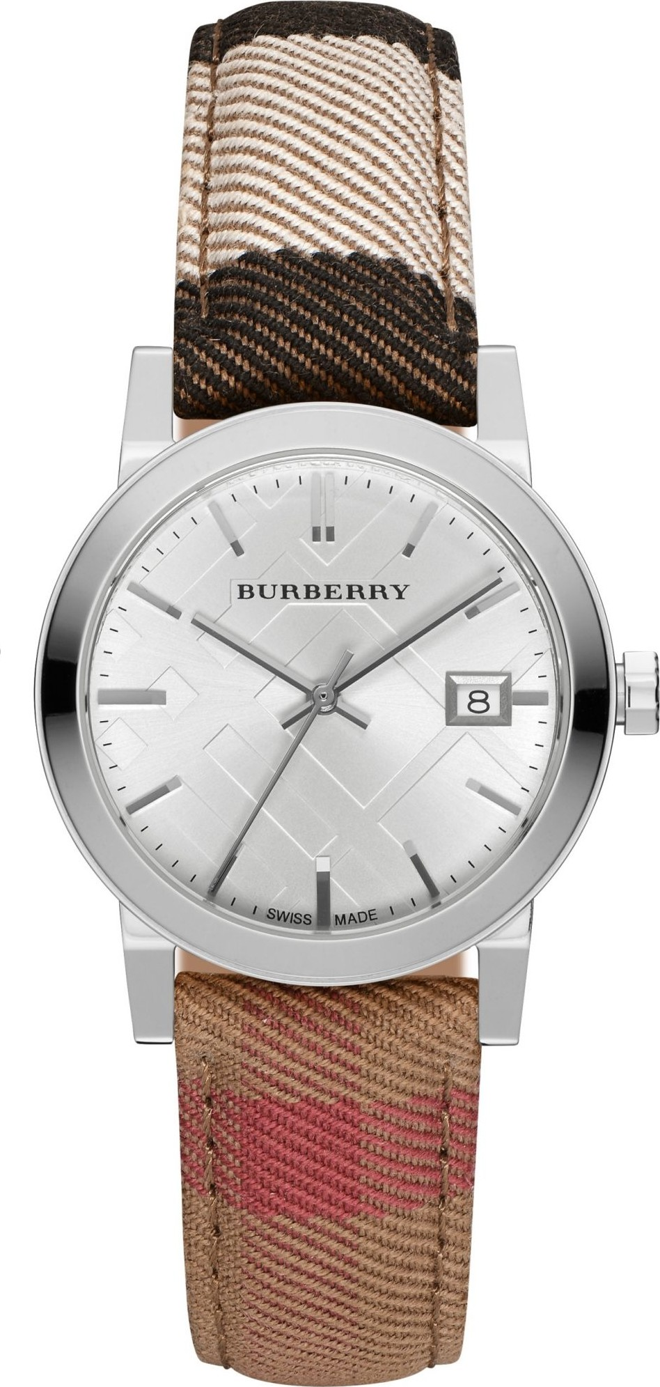 Burberry Women's Classic Round Silver Leather Watch 34MM