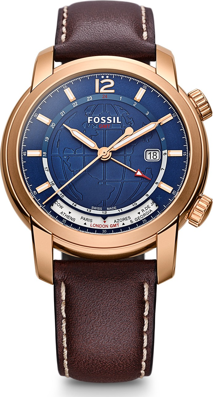 Fossil SWISS FS-5 SERIES GMT BROWN WATCH 45mm