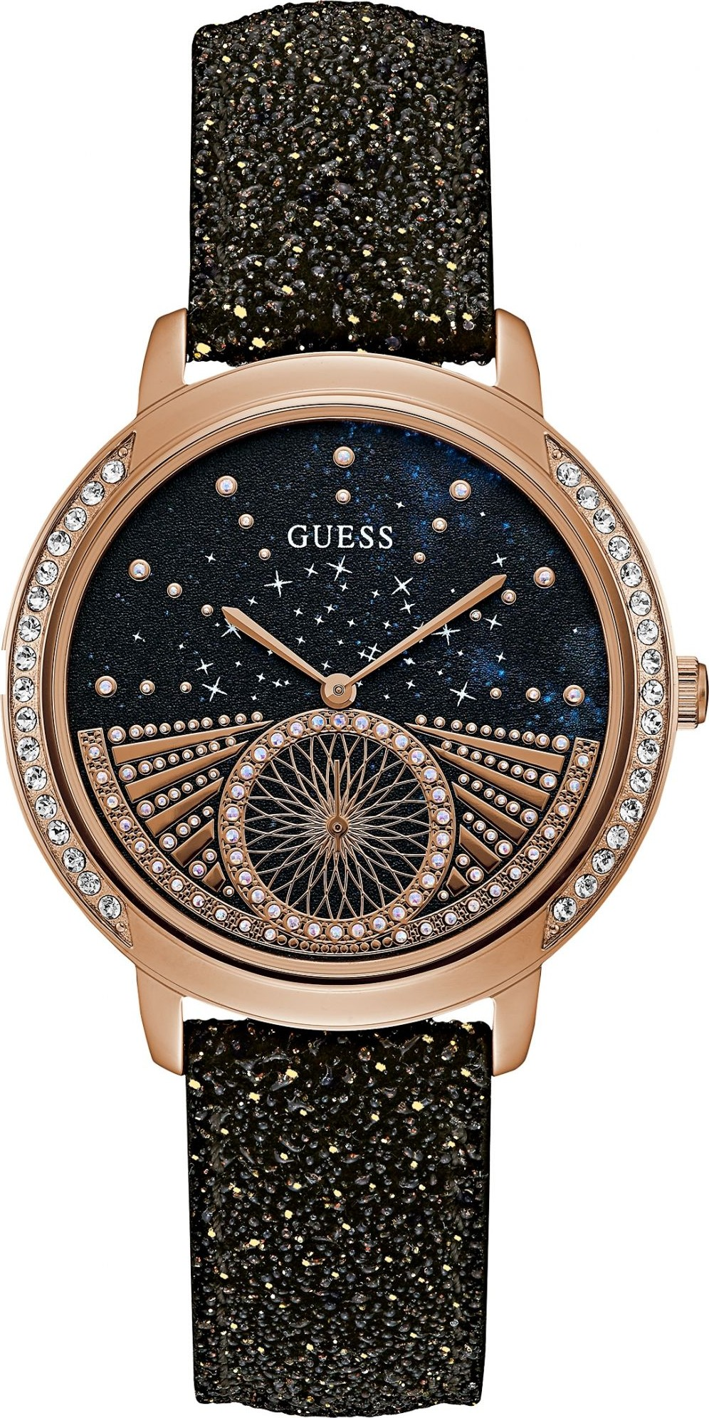 GUESS Black Glitter Leather Unisex Watch 40mm