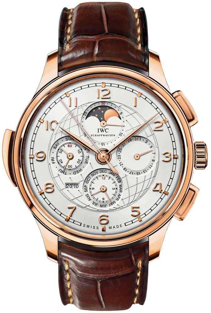 IWC Mens18kt Rose Gold Leather 45mm
