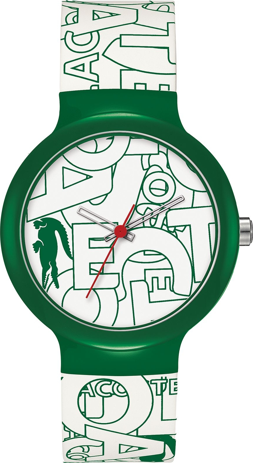 Lacoste Unisex White and Green Silicone Strap Watch 40mm