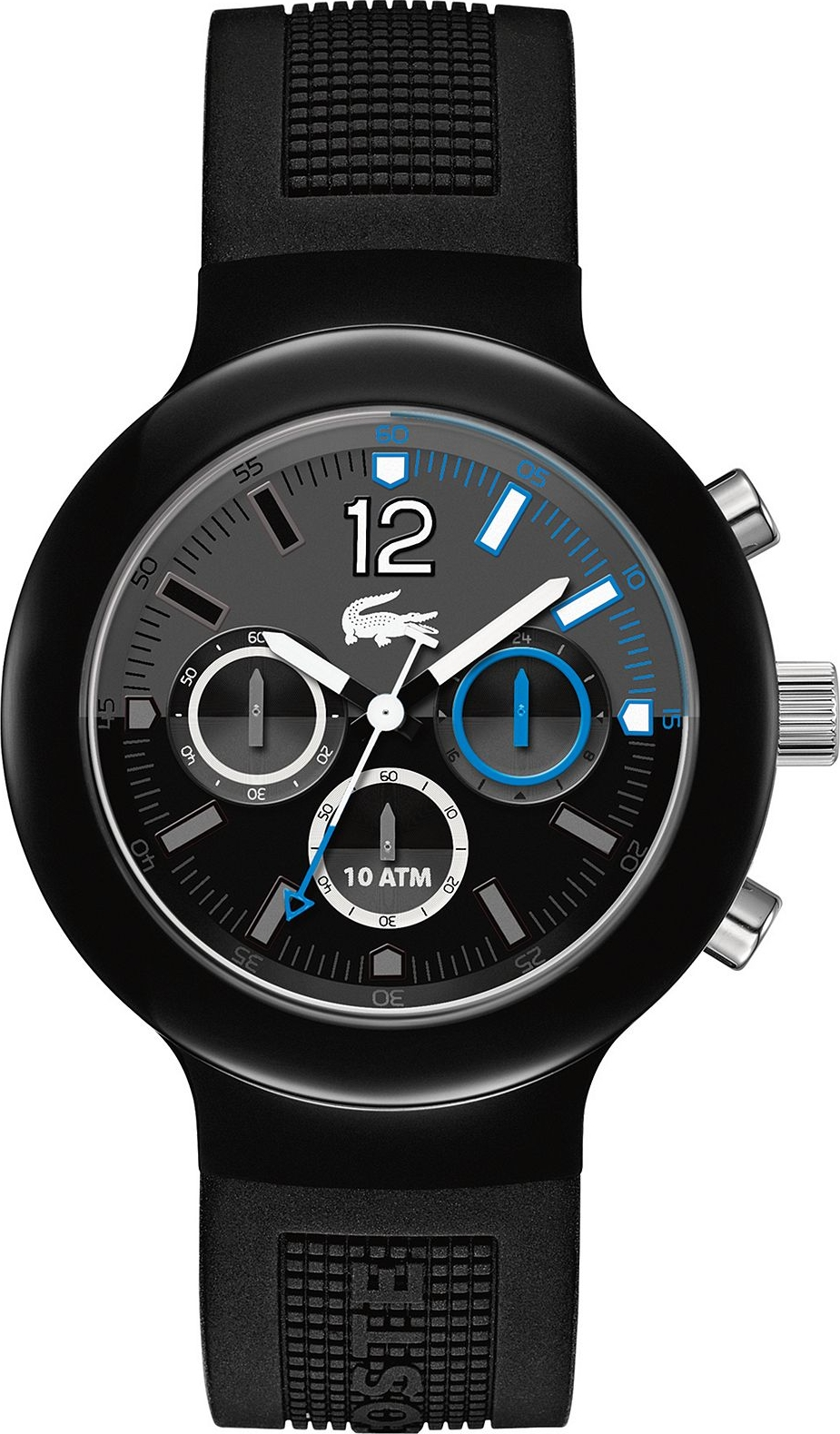 Lacoste Watch, Men's Chronograph- Black Silicone 44mm