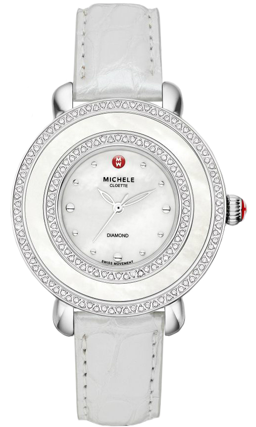 Michele Ladies Stainless Steel Leather 38mm