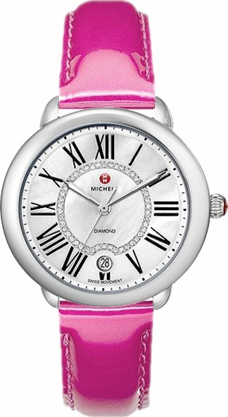 Michele Serein 16 Diamond Dial Pink Patent Watch 36 x 34mm