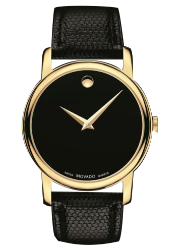 Movado Museum Black Leather Men's Watch 38mm