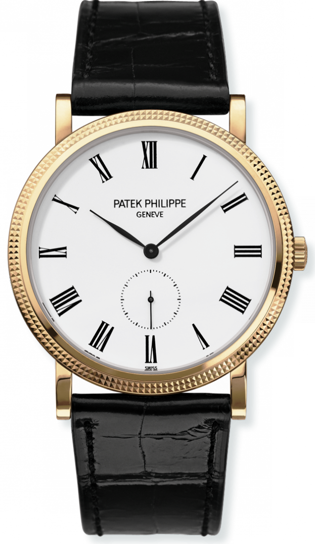 Patek Philippe Yellow Gold Mens Black Leather 36mm