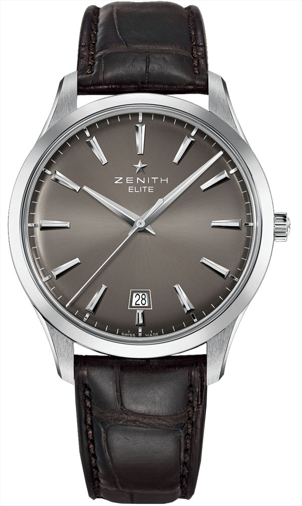 Zenith Mens Stainless Steel Leather 40mm