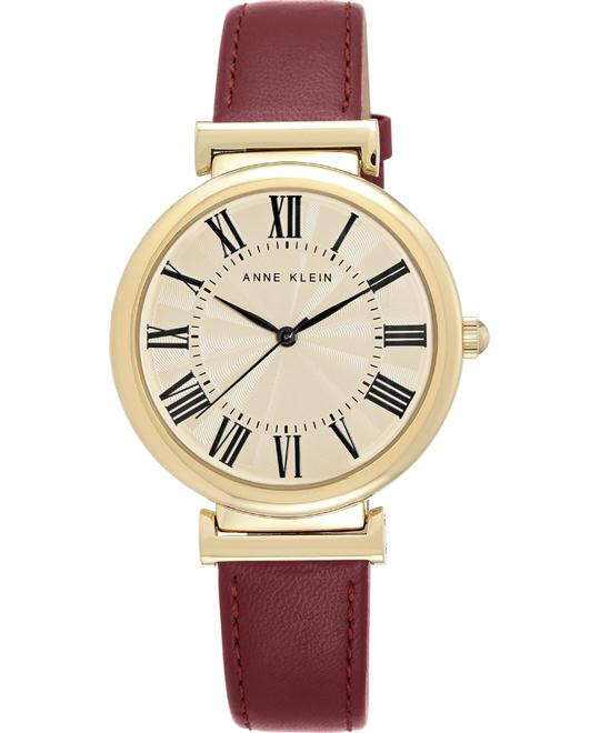 Anne Klein Women's Burgundy Leather Strap Watch 38mm