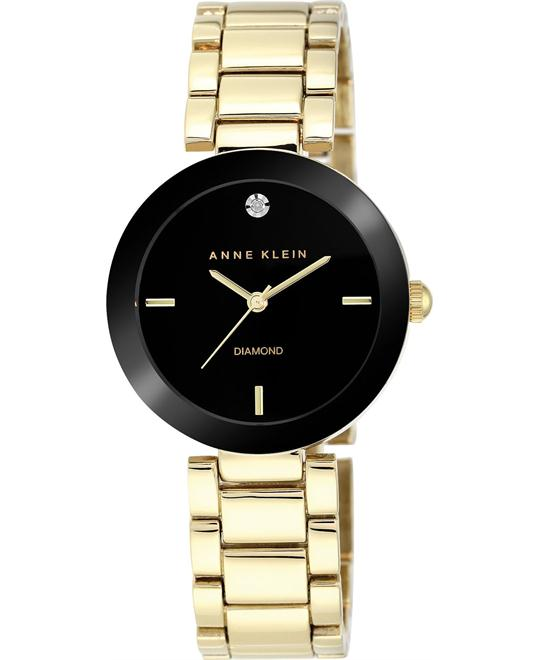 Anne Klein Women's Diamond Black Gold-Tone Watch