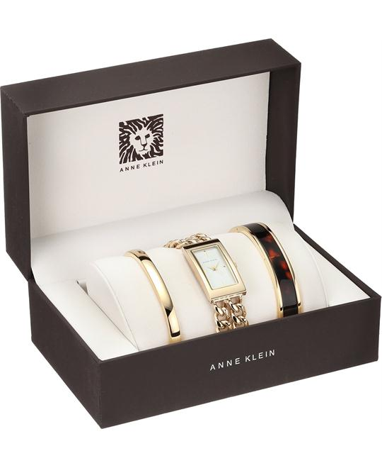 Anne Klein Women's Gold-Tone Watch and Bracelet Set 19.5mm