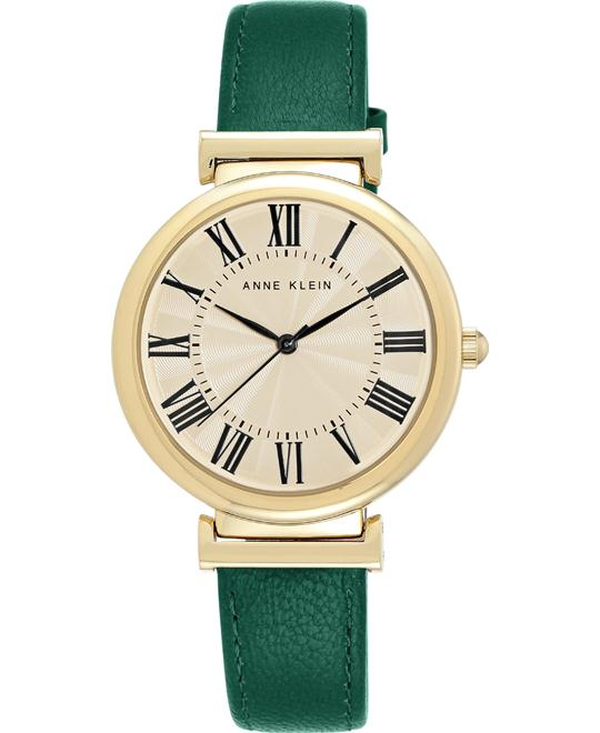 Anne Klein Women's Green Leather Strap Watch 38mm