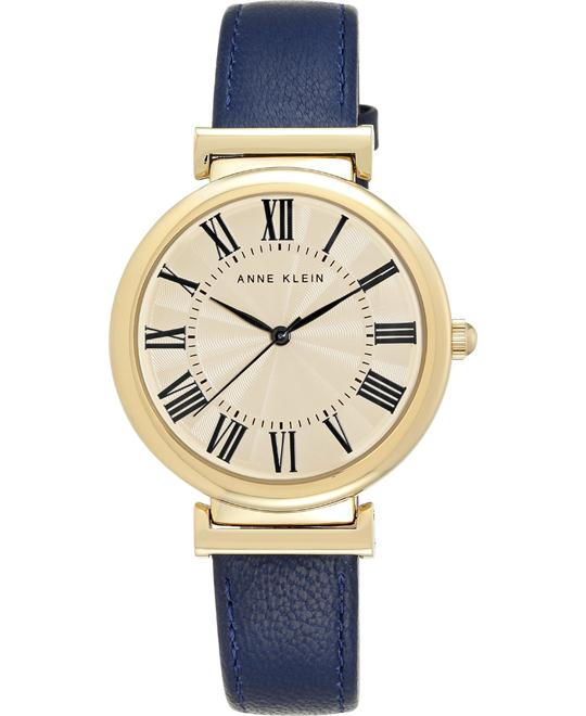Anne Klein Women's Navy Leather Strap Watch 38mm