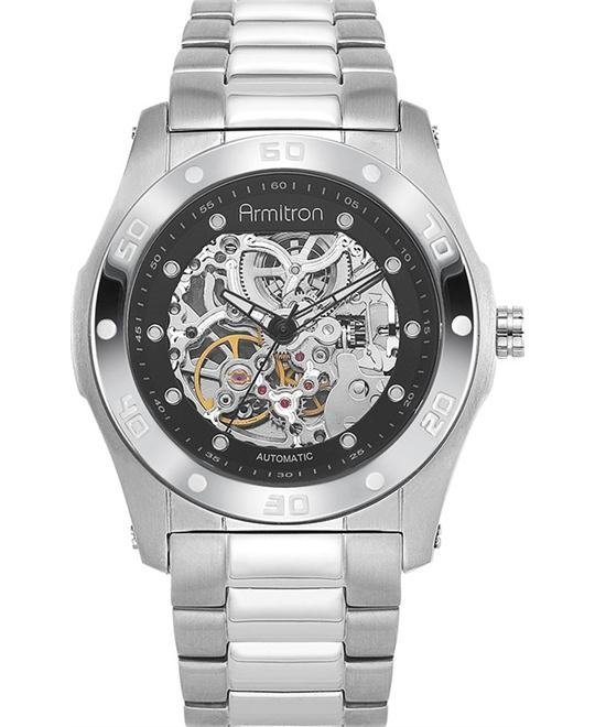 Armitron Men's Silver-Tone Round Black Watch 44mm
