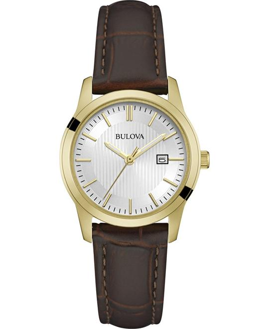 Bulova Brown Leather Strap Women's Watch 30mm