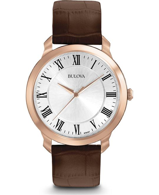 Bulova Dress Men's Watch Brown Leather Watch 42mm