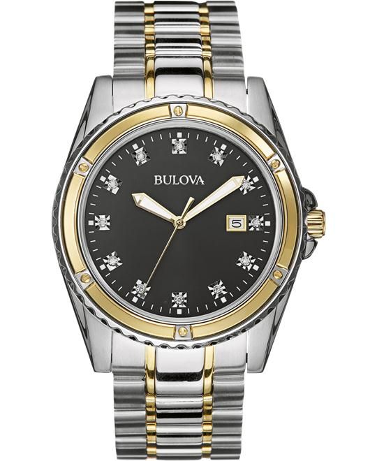 Bulova Men's Diamond Analog Japanese Watch, 42mm