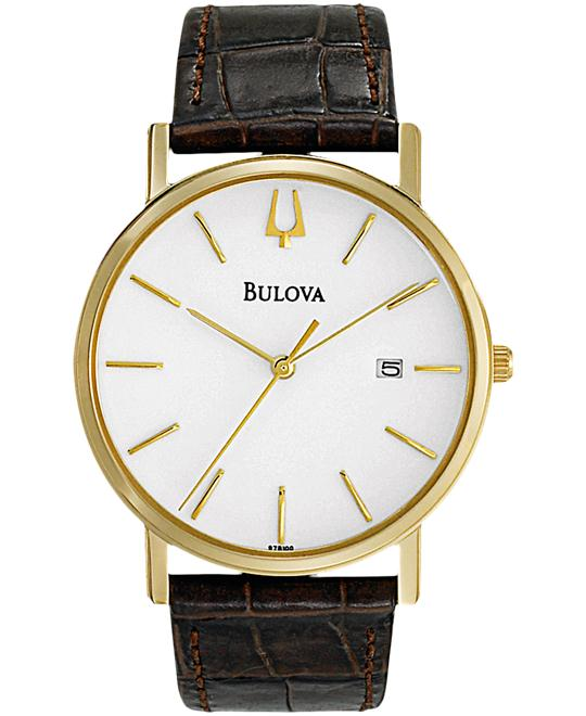 Bulova White Leather Dress Men's Watch 37mm