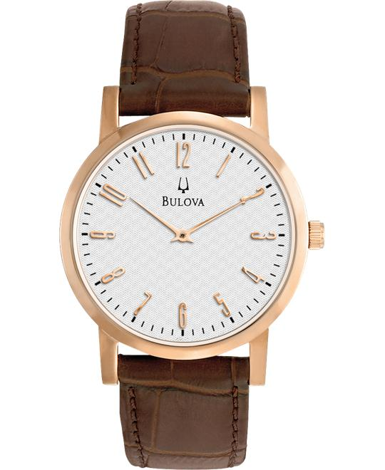 Bulova White Men's Leather Strap Watch 38mm