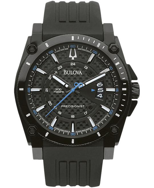 Bulova Men's Precisionist Black Dial Rubber Watch 46mm