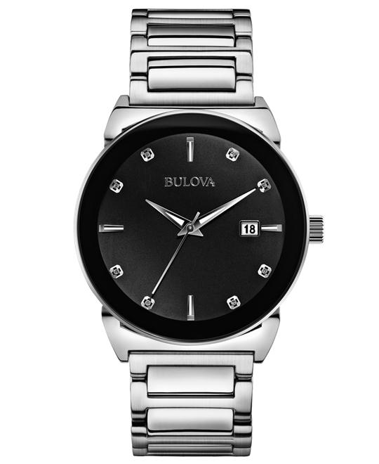 Bulova Mens Diamond Silver Watch 40mm