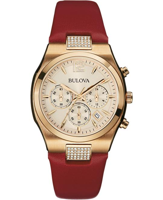 Bulova Women's Display Japanese Red Watch 34mm