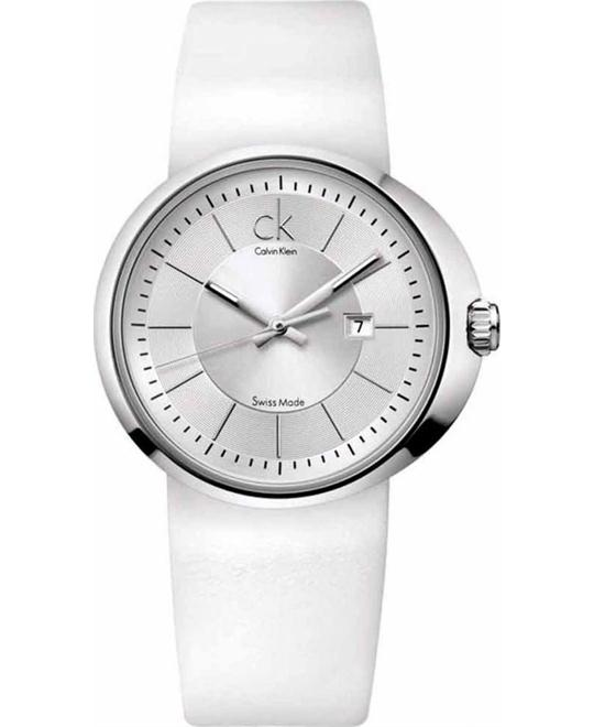 Calvin Klein Quartz, White Leather Strap Women's Watch 34mm