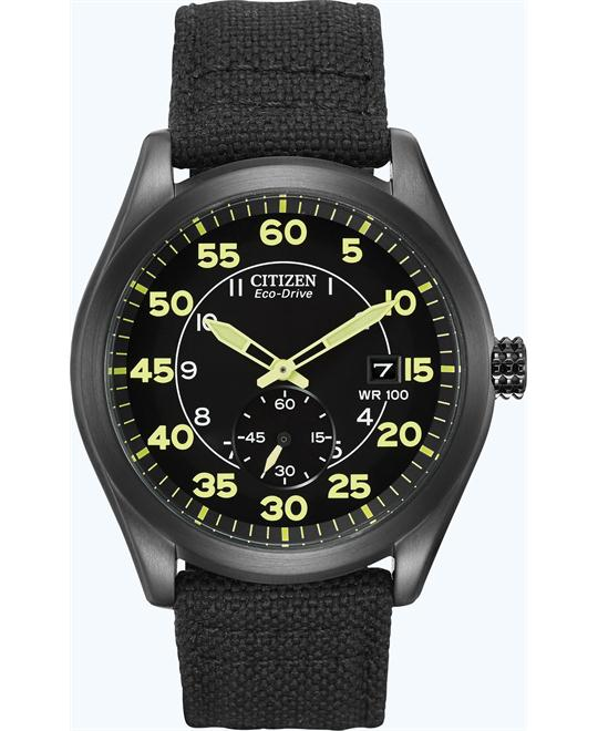 Citizen Men's Eco-Drive Black Nylon Strap Watch, 46mm