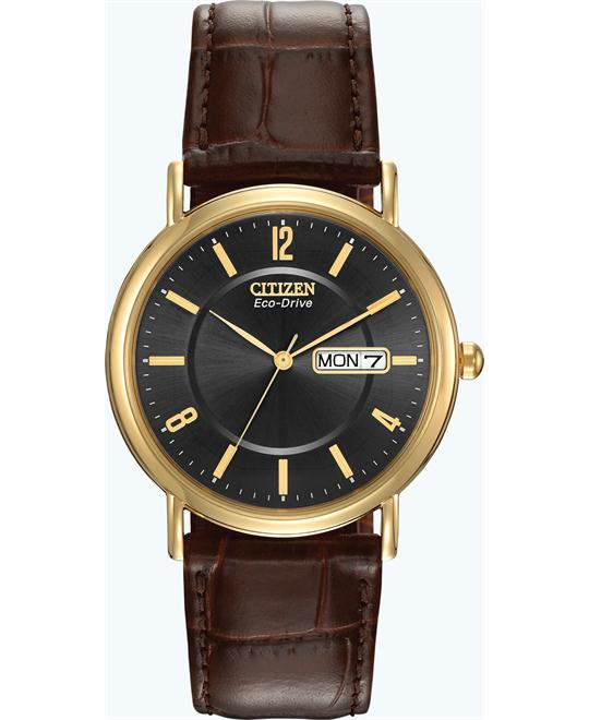 "Citizen Men's ""Eco-Drive"" Leather Strap Watch, 36mm"