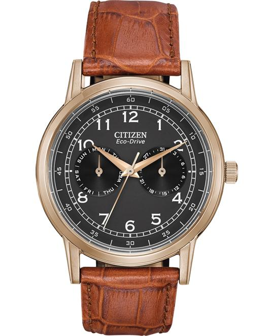 CITIZEN Eco Drive Brown Leather Watch 42mm