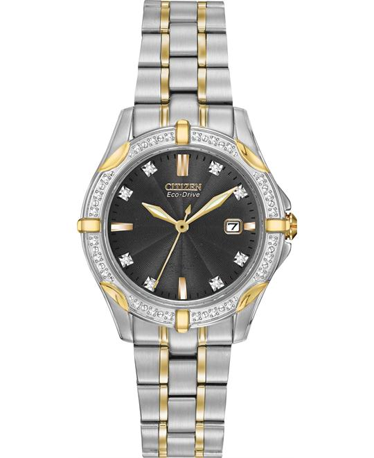 Citizen Women's Diamonds Japanese Two Tone Watch, 28mm