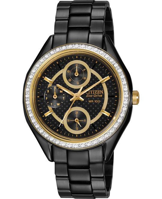 Citizen POV Eco-Drive Black Dial Black Ladies Watch 35mm