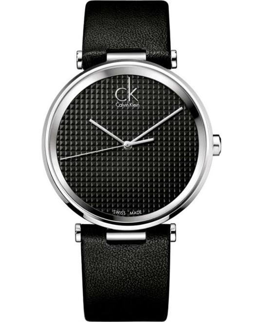 Ck Calvin Klein Gents Watch Black Leather Black  40mm