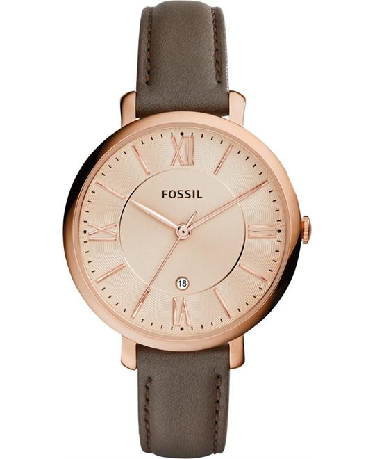 Fossil Jacqueline Gray Leather Women's Watch 36mm