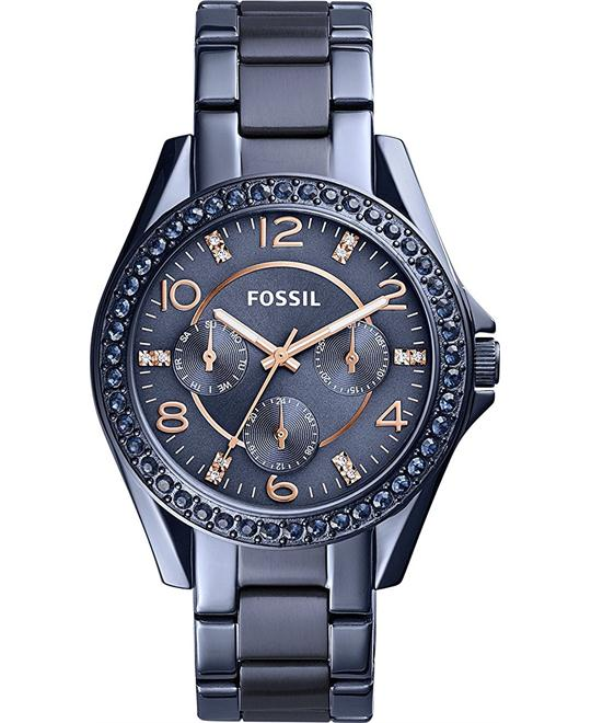 Fossil Riley Multi Function Blue Stainless Steel Watch 38mm