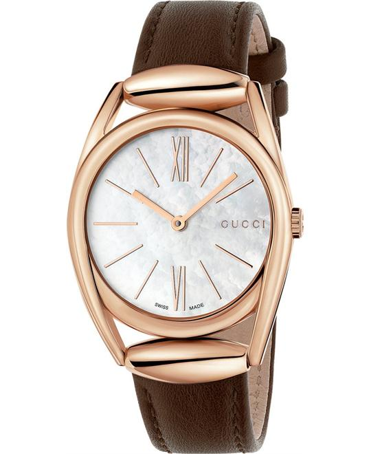 Gucci Horsebit  Brown Leather Strap Women's Watch 34mm