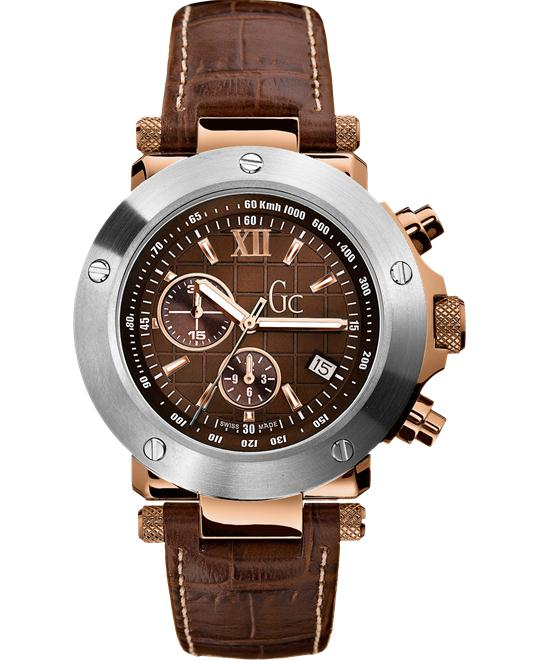 GUESS Men's Gc-1 Brown Leather Timepiece, 44mm