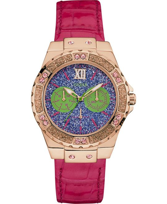 GUESS Pink Leather Strap Women's Watch 39mm