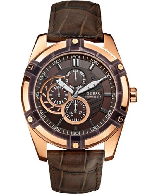 GUESS ROSE GOLD MULTIFUNC BROWN MENS WATCH 45MM