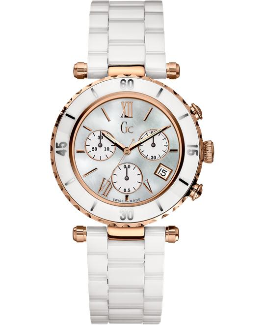 GUESS Women's Gc DIVER CHIC Ceramic Chronograph, 38.5mm