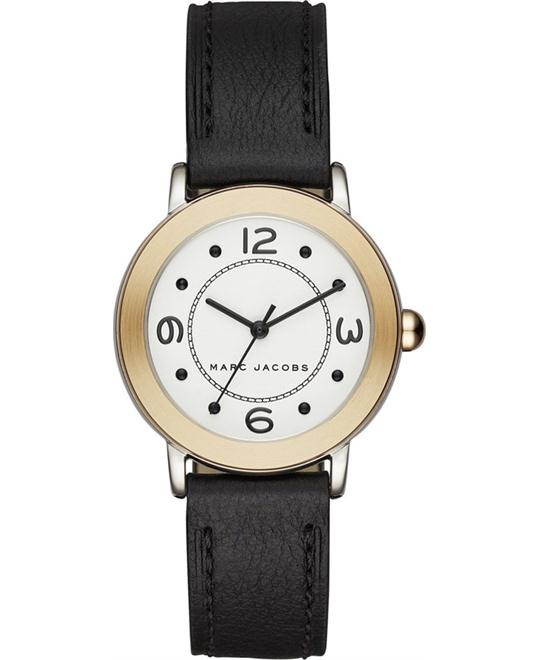 Marc Jacobs Riley Black Leather Strap Women's Watch 28mm