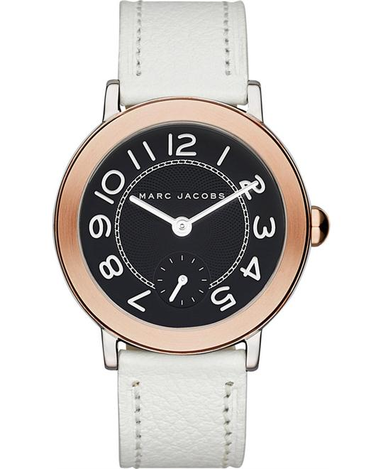 Marc Jacobs Riley White Leather Strap Women's Watch 36mm