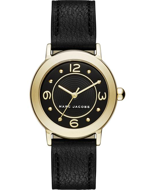 Marc Jacobs Riley Women's Black Leather Strap Watch 28mm