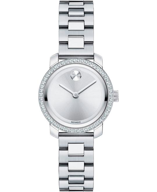 Movado Bold Silver Dial Ladies Diamond Watch 25mm