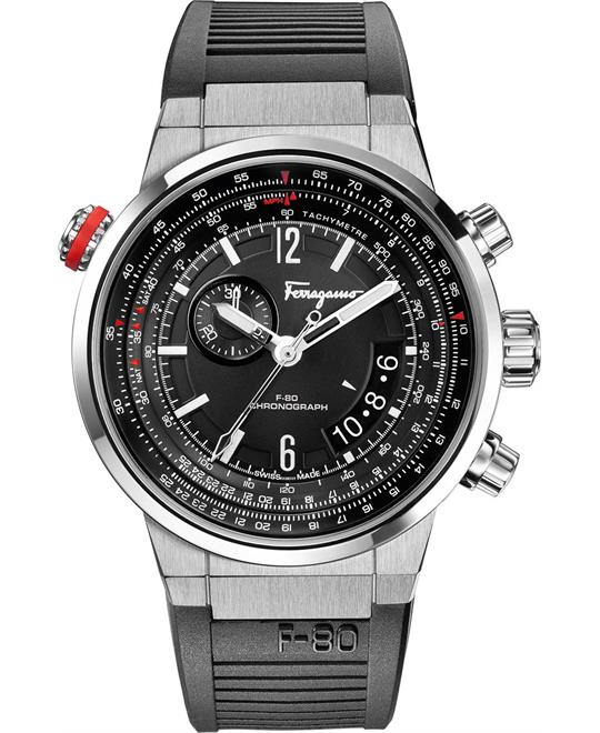 Salvatore Ferragamo	 F-80 Stainless Steel Chronograph Watch 44mm