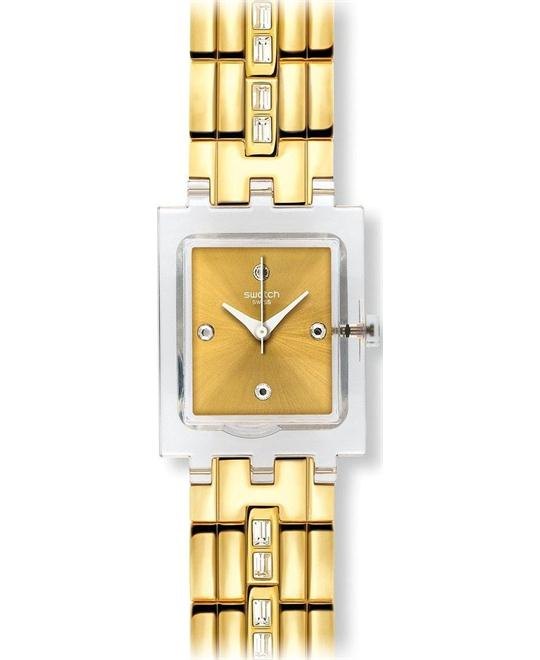 Swatch 24mm Plastic Case Gold Tone Women's Watch, 24mm