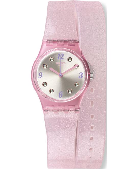 Swatch 25mm Plastic Case Pink Rubber Women's Watch